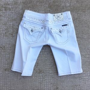 Miss Me Shorts - Miss Me White Denim Bermuda Shorts